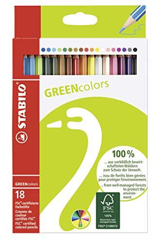 Umweltfreundlicher Buntstift - STABILO GREENcolors - 18er Pack - mit 18 verschiedenen Farben