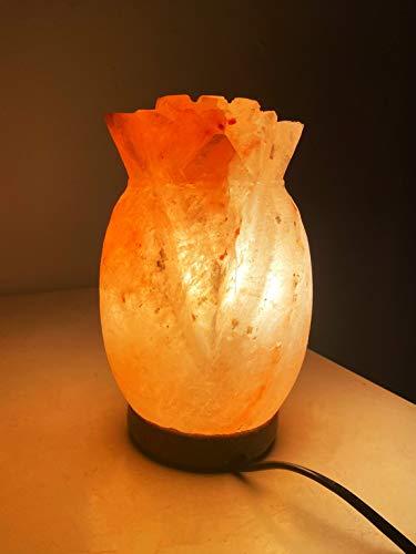Lámpara de sal rosa del Himalaya en forma de flor de...