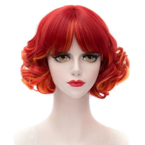 Kadiya Rainbow Red Short Curly Wavy Layered Lolita Harajuku Cosplay Wigs Costume Hair
