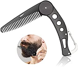 Men's Foldable Stainless Steel Beard Comb Portable Pocket Mustache Combs Anti-static Metal Hair Grooming Styling Tool 25 Counts Round Teeth Best Gift