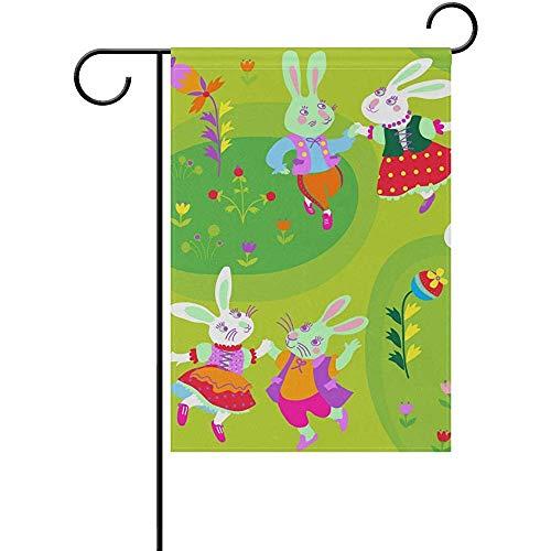 ALLdelete# Garden Flag Garten Flagge Ostern Tanzen Hasen Hof Haus Flagge Banner Decor Flagge Für Zuhause Indoor Outdoor Decor, 70X102 cm (28X40 In)