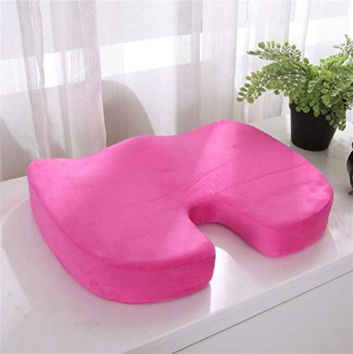 Travel Seat Cushion Pain Relief Orthopedic Memory Foam U Seat Massage Chair Cushion Pad Car Office Massage Cushion (Color : Pink, Specification : Cushion with core)