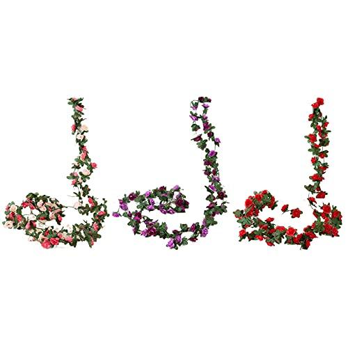 JONJUMP 3 piezas de rosas artificiales de ratán pequeña peonía decoración de seda guirnalda falsa boda hogar hotel jardín decoración