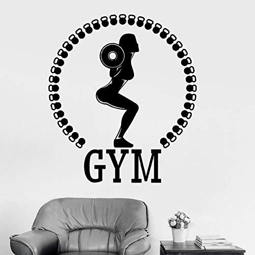 Muursticker fotobehang vrouw Gym Fitness Club binnendecoratie halter bodybuilding gezond lichaam leven kunstwand vinyl raamsticker