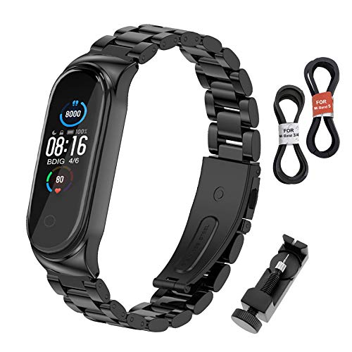 BDIG Correa Compatible para Xiaomi Mi Band 5/4 Correas Metal,Pulsera de Acero Inoxidable Agradable para Mi Band 5/3 Correa (No Host)