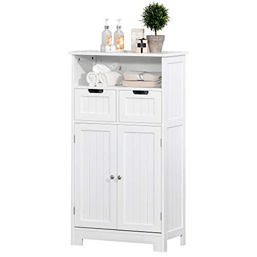 kleankin Badzimmerschrank, Badeschrank, Badkommode mit 2 Schubladen, 1 Türschrank, Ablage verstellbar, MDF, 60 x 30 x 108,8 cm, Weiß