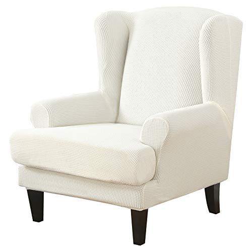 NIBESSER Sessel-Überwürfe Ohrensessel Überzug Bezug Sesselhusse Elastisch Stretch Husse für Ohrensessel(Gestrickt-weiß)