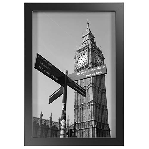 ONE WALL Tempered Glass 8x12 Picture Frame, Black Wood Frame for Wall and Tabletop - Mounting Hardware Included