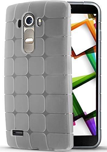 MoEx® Funda de Silicona Ligera Compatible con LG G4 | Flexible, Motivo de Cubos, Transparent
