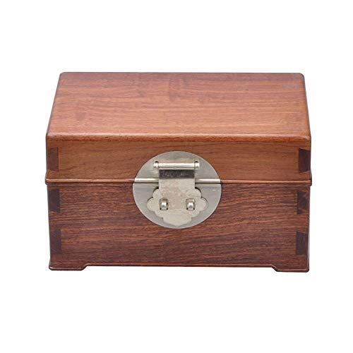 Sunferkyh-hm Caja de Almacenamiento de Joyas Joyas Antiguas Colección Caja de joyería de Madera Maciza de la Aleta de la Caja de almacenaje cosmético de Madera Cofre del Tesoro para Mujeres