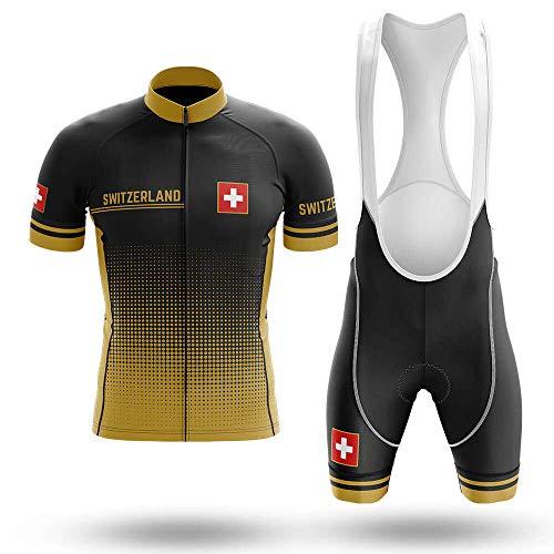 Maillot De Ciclismo Conjunto Para Hombre,Puntos Amarillos Negros Bandera Suiza Mtb Ropa...