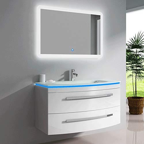 """oimexgmbh Design Badmöbel Set """"Monica"""" Weiß Hochglanz Waschtisch 70cm inkl. LED Waschbecken, LED Beleuchtung Armatur und Spiegel Badezimmermöbel Set mit Glas Waschbecken"""