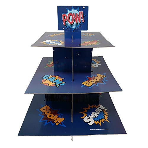 Superhero Cupcake Stand amp Pick Kit Superhero Party Supplies Superhero Decorations Birthdays Cake Decorations Kids Birthdays 3 Tier Cardboard