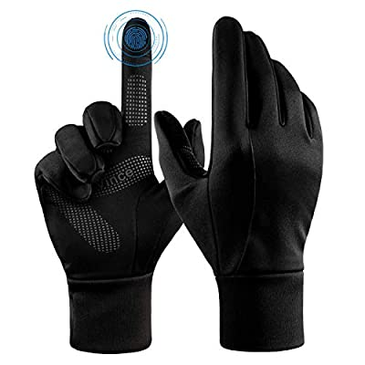Bike Gloves Touch Screen Winter Thermal Glove - Windproof Water Resistant for Running Cycling Driving Phone Texting Outdoor Hiking Hand Warmer in Cold Weather for Men and Women (Black,Small)