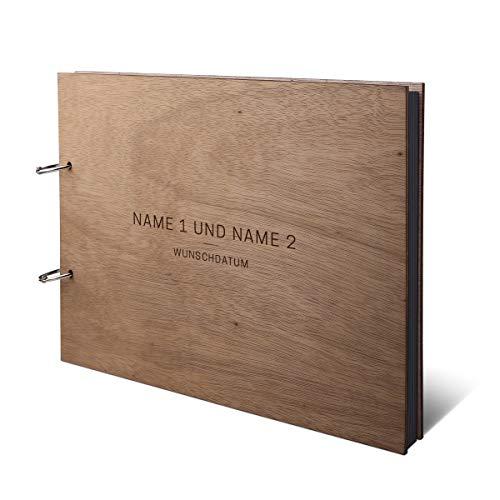 Hochzeit Fotoalbum Okoume Holz Gravur individuell Holzcover mit 50 Fotokarton 300g/qm schwarzen Innenseiten (25 Blätter) DIN A4 quer 302 x 215 mm - Schlicht