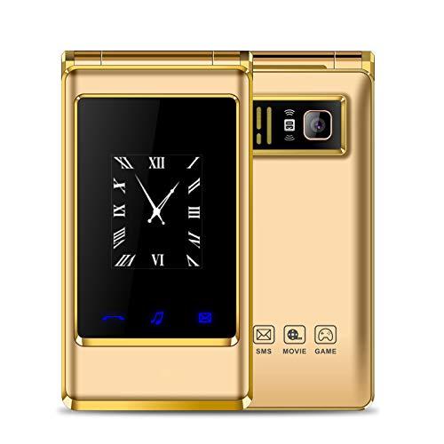 Teléfono móvil personas mayores, pantalla dual HD 3.0 pulgadas, teléfono celular abatible personas mayores 2G, ranuras tarjetas dobles, botones grandes, escritura mano con tapa, modo espera prolongado