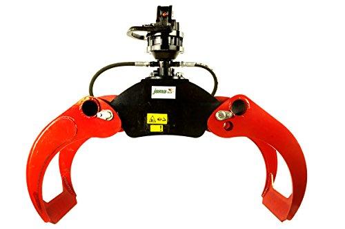 LF-TECH - Garra de Leña OG12 con Rotador Finn de 3 Toneladas CR300, Garra de Madera, Pinzas, Excavadoras, Grúas, Madera