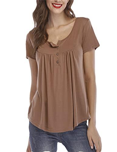 Camiseta Mujer Básica Elegante Dulce Moda Simple Color Sólido Cuello Redondo Verano Manga Corta Suelta Cómoda Vacaciones Ocio Citas Mujer Top G-Khaki L
