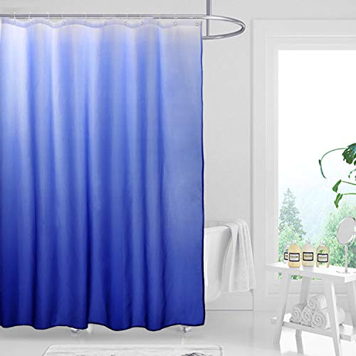 Fabric Ombre Shower Curtain Set for Bathroom with 12 Hooks, Gradient Design Waterproof Decorative Bathroom Curtain, 70 x 70 Inch, Royal Blue