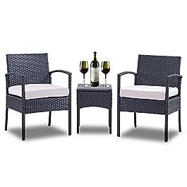 Geareden Ensemble de 3 chaises en rotin synthétique avec table basse Marron