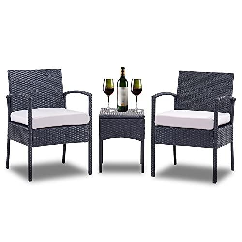 GEAREDEN - Set di 3 sedie in rattan sintetico per esterni, set di sedie in vimini e vimini, set di conversazione con tavolino (grigio chiaro)