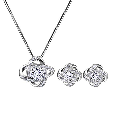 AMYJANE Bridal Jewelry Set for Women - Silver Crystal Cubic Zirconia Love Knot Necklace Stud Earrings Elegant CZ Jewelry Set for Wedding Bride Bridesmaids Set