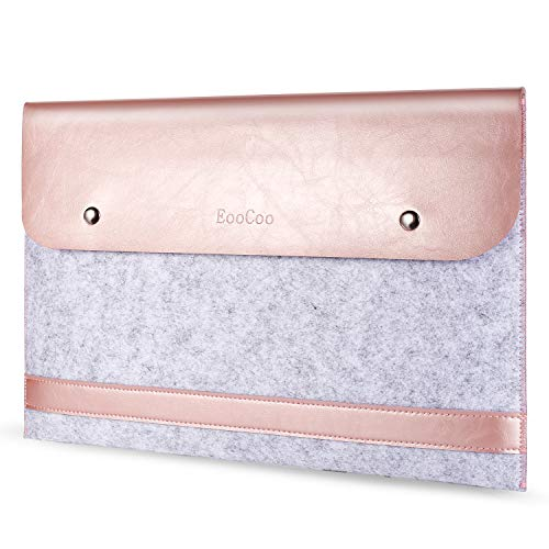 EooCoo Felt Laptop Sleeve Compatible for 2017-2020 New MacBook Air 13 A2179 A1932, MacBook Pro 13 A2251 A2289 A2159 A1706 A1989 A1708, Splice Microfiber Leather Sleeve Case - Rose Gold