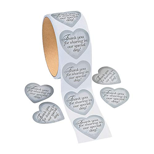 Silver Heart Thank You Stickers (1 roll) by Fun Express