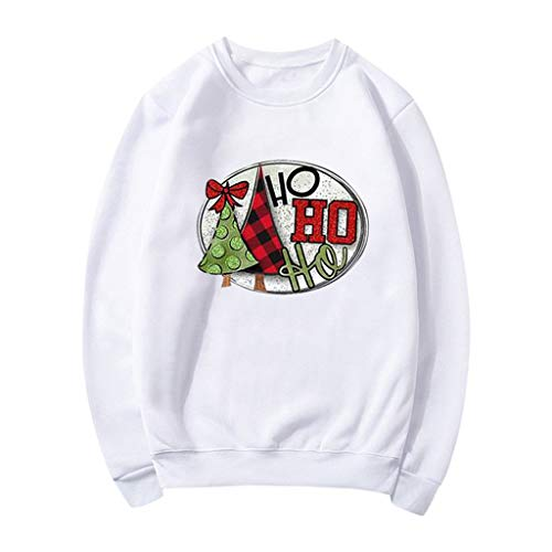 MOTOCO Womens Christmas Long Sleeved T-Shirt Tops Ladies Fashion O-Neck Elk Christmas Tree Letter Print Casual Shirt Top Blouse(L,White)
