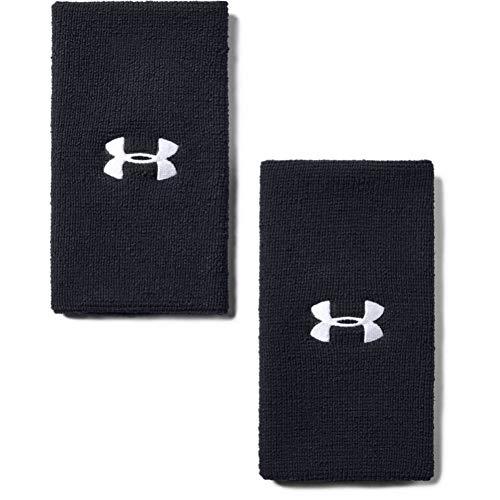 Under Armour UA 6'' Performance Wristband schweißableitendes Fitnessband, Flexibles Schweißband mit Logo, Schwarz, OSFA