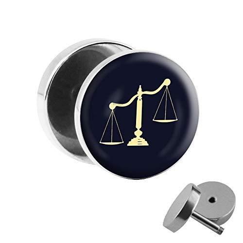 Treuheld® | Fake Plug sterrenbeeld weegschaal - Ø 10 mm afbeelding oorstekers met motief om te schroeven - chirurgisch staal oor faketunnel zilver - tunnel oorbellen oorbel staal fake plug