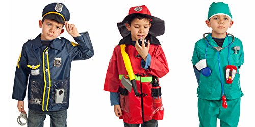IQ Toys Set of 3 Rescue Costumes Fireman Police & Doctor with Hats & Over 15 Accessories