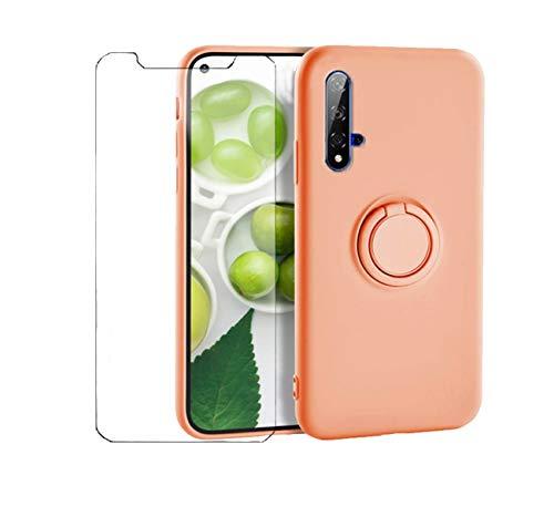 Funda de teléfono móvil compatible con Huawei Nova 5T, funda de silicona, Huawei Nova 5T, funda verde, funda suave con 1 cristal templado y soporte magnético para coche (naranja, Huawei Nova 5