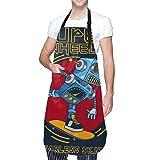 NOLOVVHA Ajustable Colgante de Cuello Personalizado Delantal Impermeable,Robot Skater,Babero de Cocina Vestido para Hombres Mujeres con 2 Bolsillos Centrales