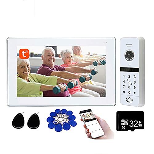 Tuya Smart Timbre de video Wifi, sistema de seguridad de videoportero de 7 pulgadas, contraseña, tarjeta RFID, desbloqueo remoto, cámara de visión nocturna 1080P + 32G,Blanco