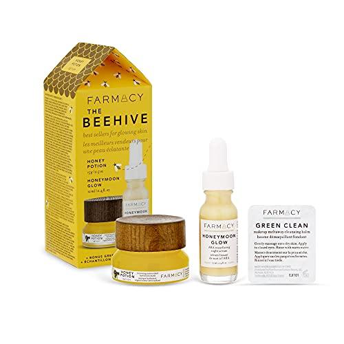 Farmacy El set de cuidado de la piel con miel de colmena de regalo - Tamaños pequeños de productos para el cuidado de la piel facial - Luna de miel Resplandor Mascarilla Serum y Poción de Miel