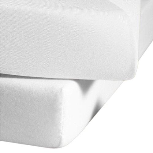 fleuresse Jenny C klassisches Jersey-Spannlaken, 100% Baumwolle, mit praktischem Rundumgummi, Fb. Weiß, Größe 100 x 220 cm, auch passend für 90 x 200
