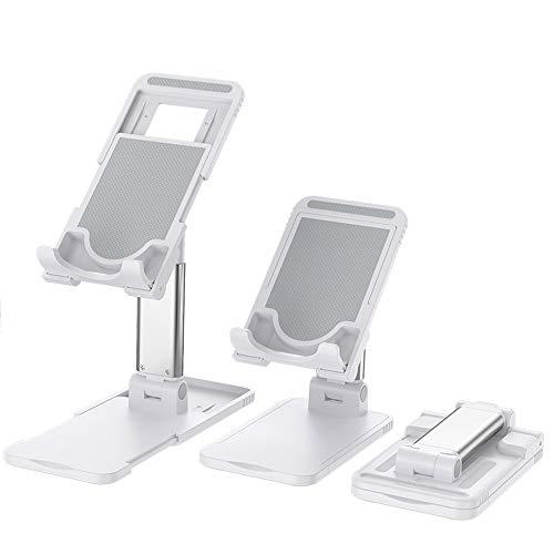 [機能強化]スマホ用スタンド 携帯電話卓上スタンド 卓上充電スタンド スマフォスタンド アイフォンデスク置き台 ホルダー角度調整可能, 横, 縦, iphone スタンド 充電可能 「4~10インチ対応」 iPhone, iPad, Samsung Galaxy, Sony, Nexus - (白)