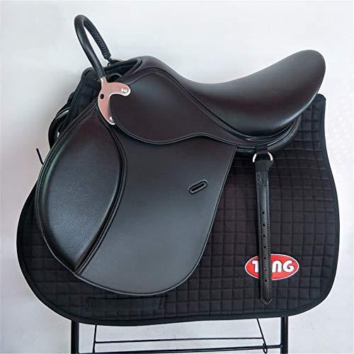Englisch Sattel Mit Kompletten Zubehör-Satz, Premium Black Leather Englisch All Purpose Jumping Horse Sattel Starter Package Set, Groß-Sattel,C