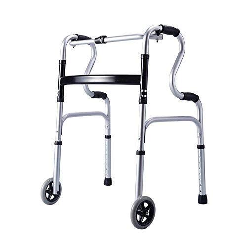 YHtech Andador Seguridad del Anciano, Ligero Ajustable Plegable Movilidad Andador Ayuda for Caminar por incapacidad Personas Viejo