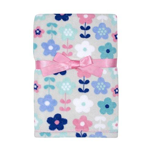 Baby Gear Plush Velboa Ultra Soft Baby Girls Blanket 30 x 40, Floral