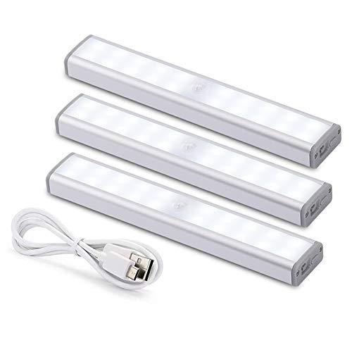 Klighten 3PCS LED Bewegungsmelder Schrankleuchten, 30 LED Kleiderschrank Lampen Unterbauleiste Beleuchtung Küchenlampen, USB Nachtlicht mit 3 Helligkeitsstufen