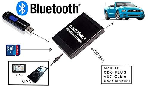 USB MP3 AUX SD CD Bluetooth kit mains libres Interface Adaptateur autoradio Renault 12 Pin Quadlock Avantime, Clio, Espace, Kangoo, Laguna, Megane, Scenic, Traffic, Twingo de 2009 Electronicx®