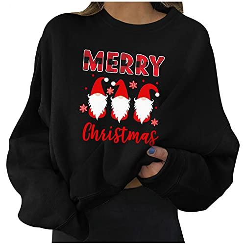 XINMINGREN Sweatshirt Damen Langarm Casual Weihnachten Langarmshirt Rundhals Farbblock Pullover Bluse Tops Oberteile für Herbst Winter Pullover Herbst Winter Bluse Tops Oberteile