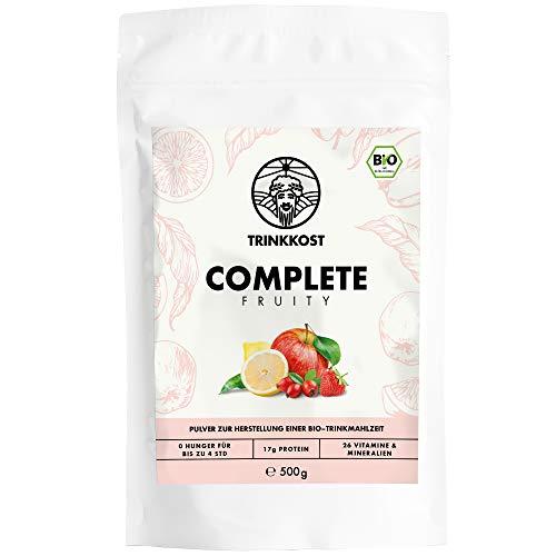Complete Fruity I 5 Bio Mahlzeiten als Getränk I Fettarme und sättigende Trinknahrung I Mit 437 kcal pro Portion ideal als Mahlzeitenersatz für Frühstück oder Essen für Zwischendurch I 500 g