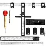 3 unids/Set Hardware de gabinete Plantilla guía de Taladro Manga cajón Tirar Madera Herramientas de perforación Conjunto localizador para manijas guía de Taladro (Negro 410 * 300 * 150 mm)