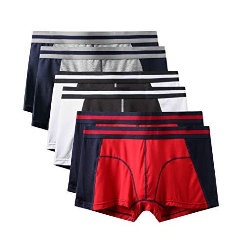 LAMZH Bóxer Ajustado Hombre 6 Unids/Lote Shorts Boxeador para Hombres Bragas Delgadas Moda Sexy Mr Ropa Interior Hombre Infantil Masculino Grandes Pantalones Cortos 3XL Bóxers Ajustados Hombre