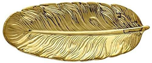 WZNING Creative Ceramic Model Sheet Makeup jewelry Storage Disc Tray Pen jewelry Brush Organizer Sushi Dessert Plate (Color: Green-s)-Gold-s