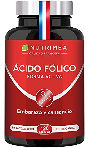 Ácido Fólico Vitamina B9 400mg por día l Para la Concepción y Mujeres en Embarazo Reducción de Fatiga | 120 Cápsulas de Origen Vegetal Apto para Veganos Fabricado en Francia