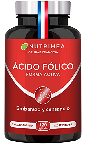 Ácido Fólico Vitamina B9 400mg por día l Para la Concepción y Mujeres en Embarazo Reducción de Fatiga   120 Cápsulas de Origen Vegetal Apto para Veganos Fabricado en Francia